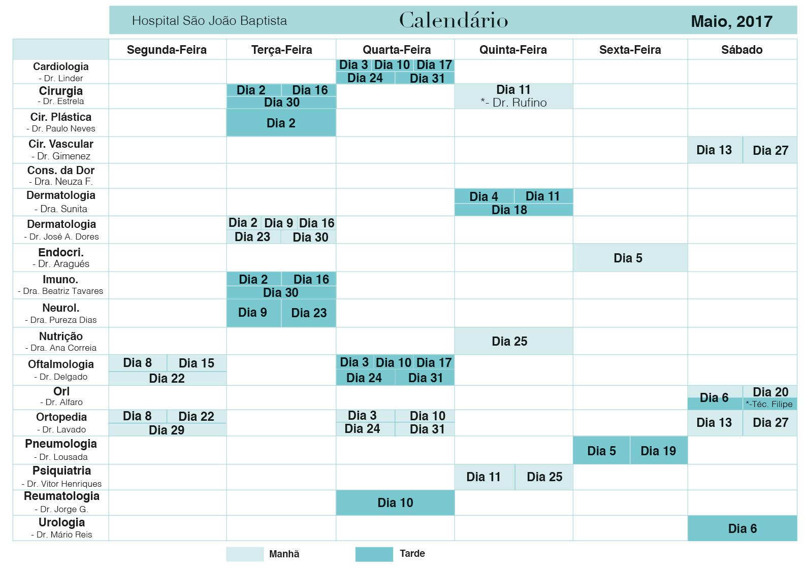 Calendário Esp Maio