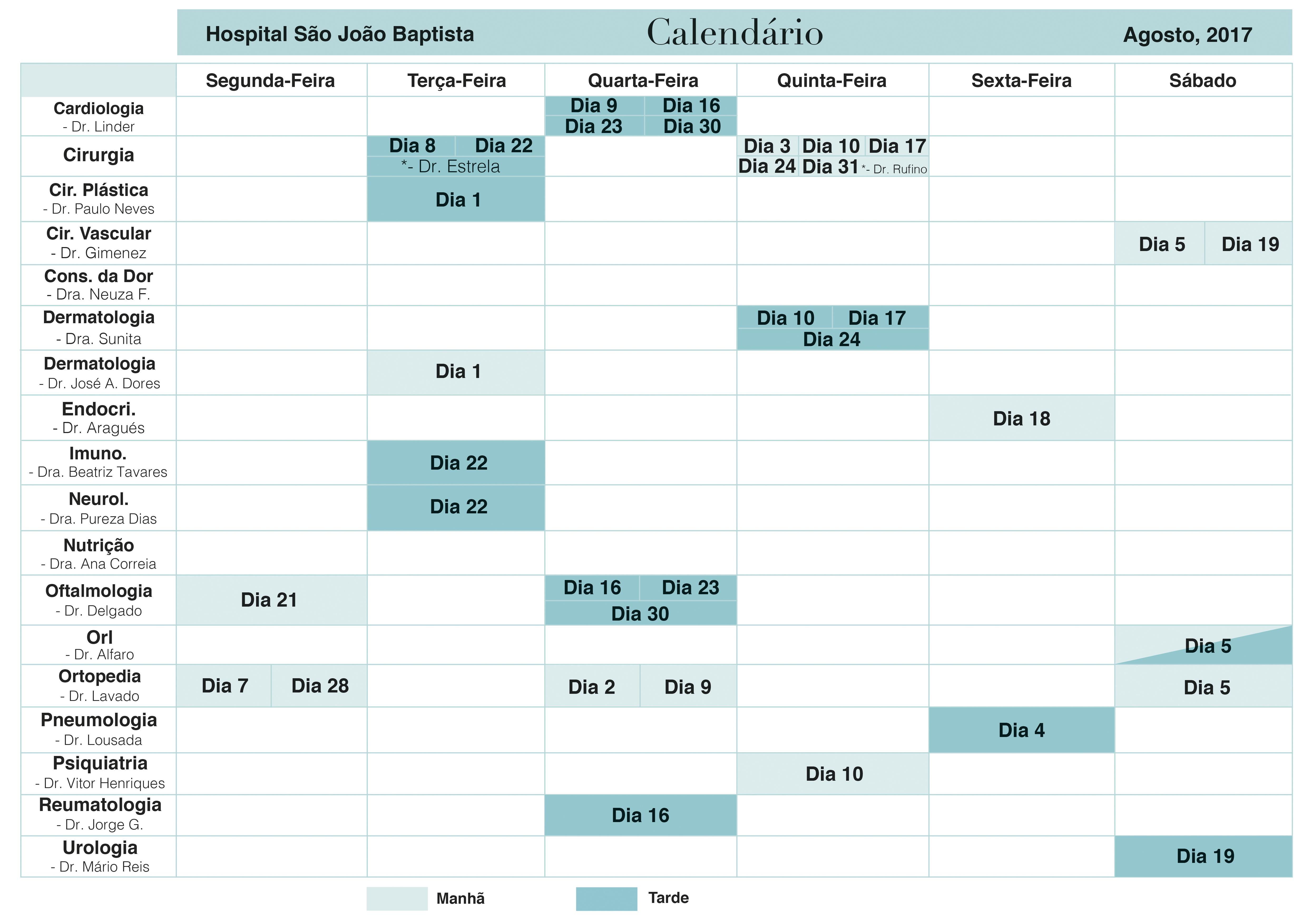 Calendário Esp Agosto