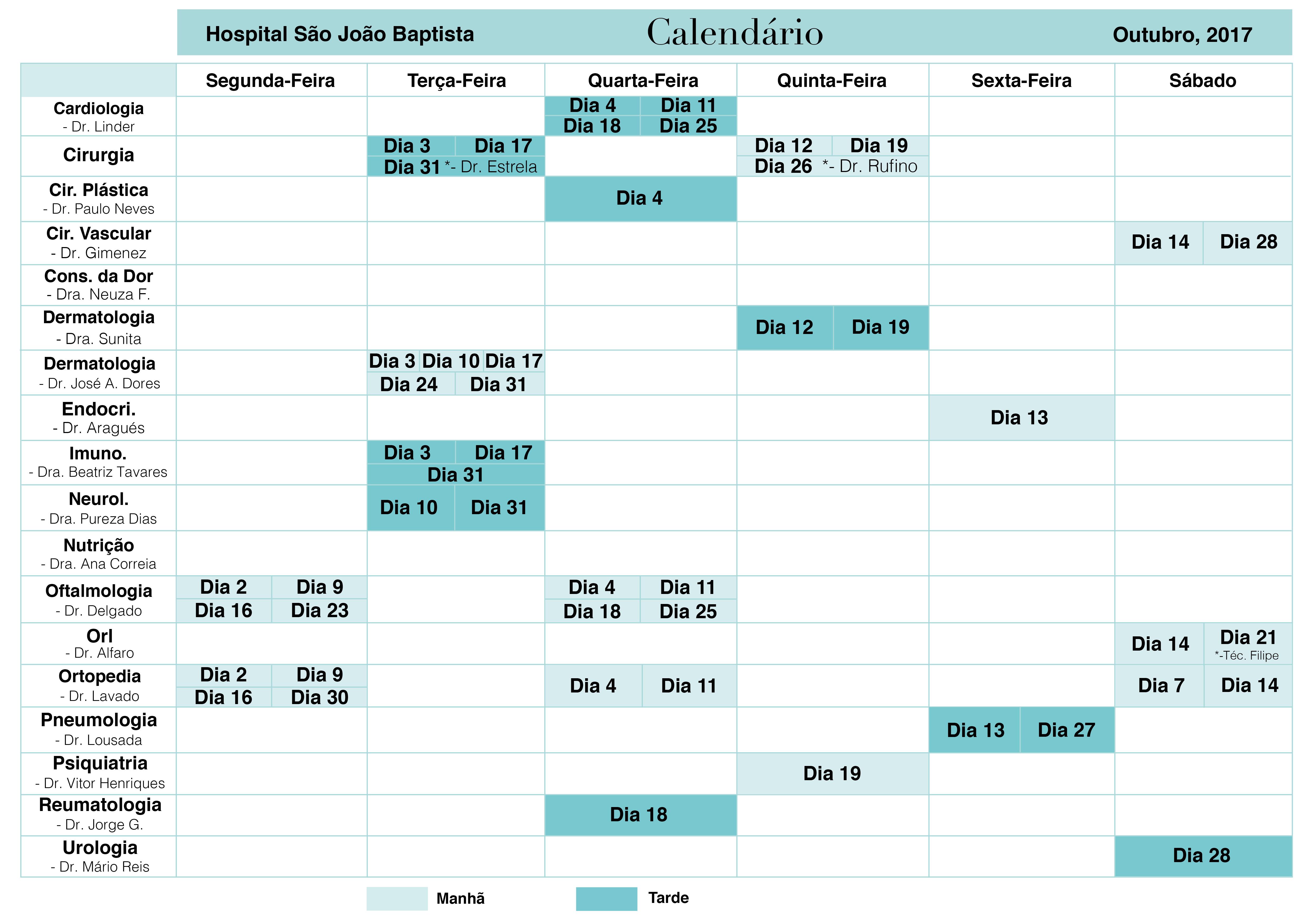 Calendário Esp Outubro